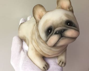 Marshmallow -- Original One of a Kind French Bulldog Sculpture by Dasha Goux