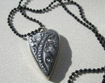 black clay heart pendant with silver accents, swarovski crystals-hand stamped, black chain, valentine, unique gift