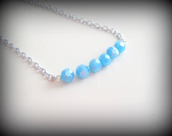faceted bead bar necklace on silver chain - Aurora Borealis coated in clear, aqua blue, pale pink - gift for her, bridesmaids, graduate