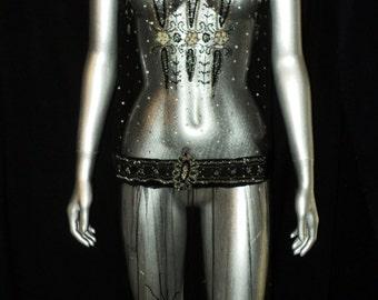 """SALE 1920's Beaded Net Gown Sequin Skirt Floral Tulle Blue Stones, Cut Steel, Rhinestones Velvet Sash Beaded Straps """"Blue Egypt"""" Restored"""