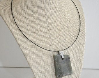 Graveyard Plume Freeform Agate Necklace - Stainless Steel Bail