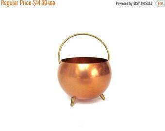 ON SALE Vintage Copper Cauldron, Mini Size,  Coppercraft Guild,