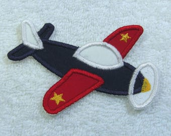 Airplane Fabric Embroidered Iron on Applique Patch Ready to Ship