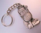 1994 GOLF Golfing Golfer Golf Ball Shoe Bag Pewter Key Chain Vintage Accessory