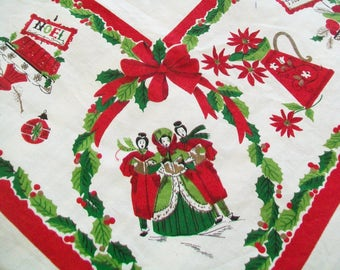 Vintage Christmas holiday tablecloth, 1960s, table cloth, kitchen