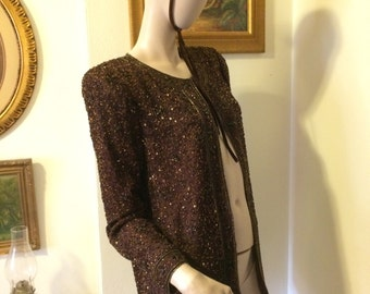 Vintage 80s Made in India Ladies Gold Brown Sequin Beaded  100% Silk  Holiday Cardigan Size Medium