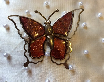 Vintage 50s Vibrant  Metal Enamel Sparkle Articulated Spring Butterfly Brooch Pin Figural