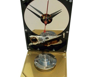 Hard Drive Clock with Golden Base, Accented with Shiny Motor Spindle Assembly. Retro, Modern.