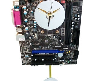 Black Motherboard Pendulum Wall Clock has Unusual & Colorful Components. Unique Office or Lobby Art. FREE SHIPPING USA!