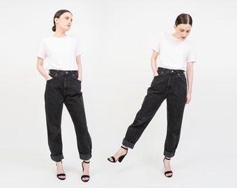 Vintage 80s 90s Black LEE Jeans - Faded Denim High Waist - Mom Jeans - Straight Leg Jeans Size Medium M - 28 W 31 L