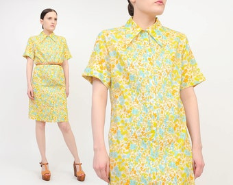 Vintage 60s Floral Shirt Dress - Collared Button Up Day Dress - Short Sleeve Mod Twiggy Mini Dress - Yellow Orange Blue - Small S