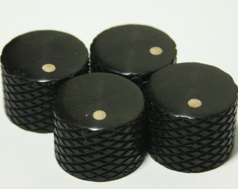 Set of 4 Knurled Gabon Ebony Guitar Knobs with Ash Dot Indicator  (3/4 inch dia x 11/16 height)