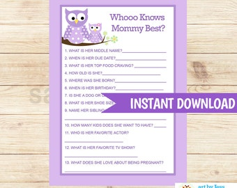 Purple Owls Who Knows Mommy Best? Girl Baby Shower Activity Game Printable PDF INSTANT DOWNLOAD bs-017