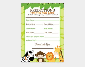 Jungle Safari Animals Baby Shower Prediction Card Keepsake Activity Game Predictions for Baby Printable PDF INSTANT DOWNLOAD bs-015