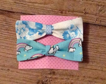 Fabric Hair Bows Pack of two , Girls Hair Bows Floral and Rainbows