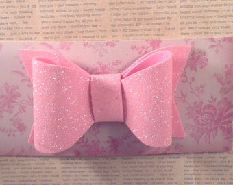 Girls pink sparkly glitter hair bow, Glitter Foam hair accessory