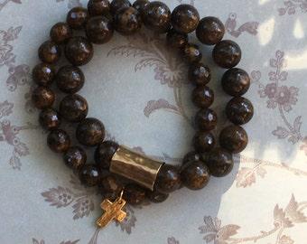 Brown/gold stacking bracelets