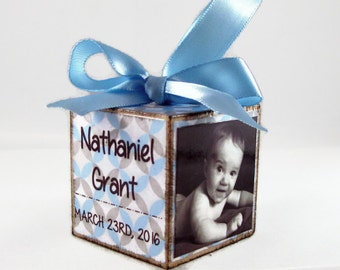 Baby's First Christmas Photo Block in Blue and Grey Pattern, Personalized Baby Photo Ornament