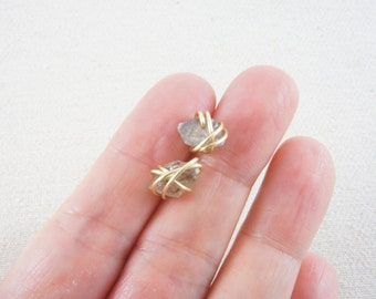 gold wire wrapped light brown smokey Herkimer diamond stud earrings, Mini Quartz Crystals, Christmas gift, holiday gift, healing