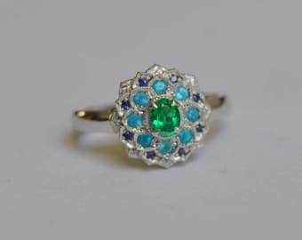 White gold gemstone ring, blue gem ring, gemstone ring, emerald and sapphire ring, apatite ring, Dahlia Ring, Halo Ring