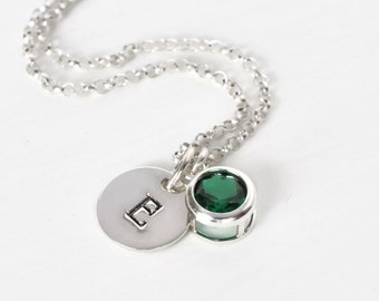 May Birthstone and Initial Necklace Sterling Silver / Personalized Birthstone Jewelry / Initial Necklace with Imitation Emerald