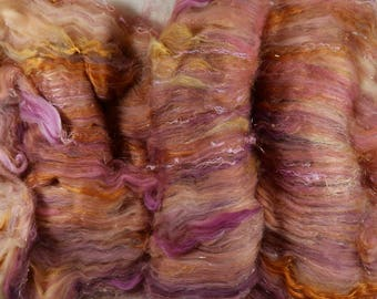 Plum Topaz Textural Art Batt for spinning and felting (4.2 ounces)