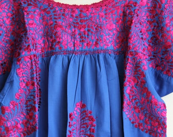 Fuchsia on cobalt blue Mexican Wedding Dress