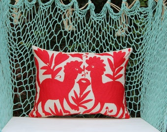 Red Pillow Sham-Otomi Embroidery Ready to ship.