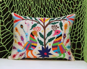Multi colored Pillow Sham-Otomi Embroidery Ready to ship.