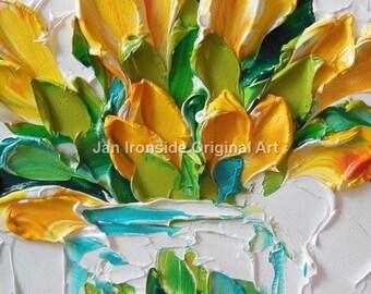 Yellow Tulips, Oil Painting, Jan Ironside ,  Wall decor ,  Original Artwork