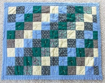 """Handmade Quilt 47"""" x 38"""" Lap Quilt, Hand Tied Patchwork Quilt, Country Quilt, Farm Quilt, Colorful Quilt, Cabin Quilt, Country Colors"""