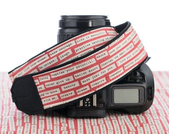 dSLR Camera Strap, SLR, Mirrorless, Rosebud Happy Thoughts, Inspirational, Quote, Words of Wisdom, 038