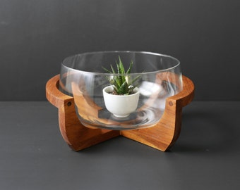Modern Glass Serving Bowl with Teak Stand