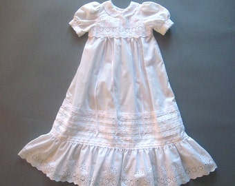 Vintage Handmade Baby Christening Gown Girls Eyelet Cotton Dress Embroidery