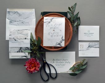 ERIN SUITE // Marble Wedding Invitation, Watercolor Neutral Design, Modern Urban Wedding Invites, Stone Gray Wedding, Neutral Organic Beige