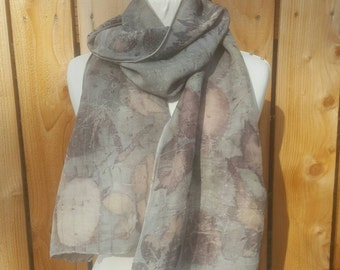 Natural Leaf-Printed Silk and Wool Scarf
