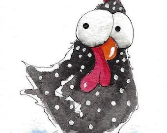 ACEO Original watercolor Chicken - Minnie