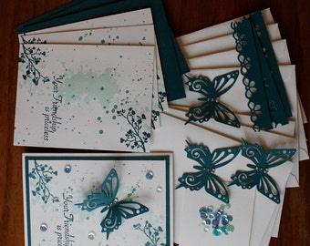 Hand Stamped Priceless Friendship All Occasion Card Kit in shades of blues - 4 cards and envelopes. Birthday, Get Well, Thinking of You