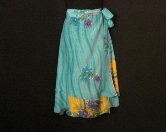 Hawaiian Silk Wrap Skirt Floral Jovani Designs Teal Orange Purple Blue & Green SM