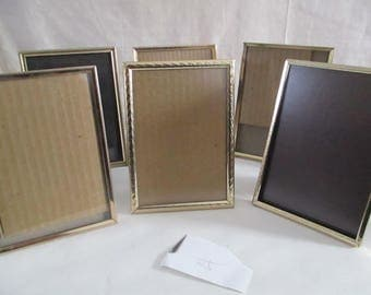 Gold Tone Picture Frames 5 x 7, glass  Set of 6