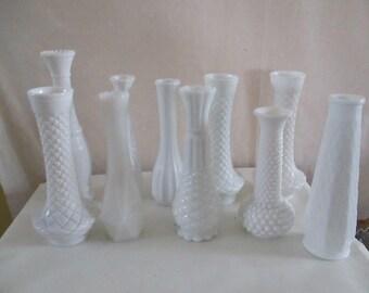 Milk Glass Vase Set of 10