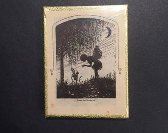 Vintage children's bookplates fairy forest silhouette Antioch sealed box of 50