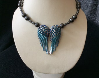 Blue rhinestone angel wing hand beaded magnetic hematite memory wire necklace