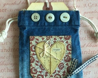 Vintage Style Jean Pocket Miniature Ornament With Heart and Love Theme