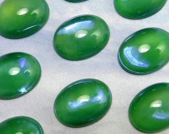 6 pcs 16x12 Iridesccent Green Opal Vintage Glass Cabochon Stones S-271