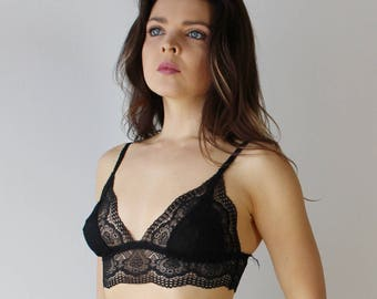 womens lace bralette with sheer mesh triangle cups - womens lingerie range - ROMANTIC - made to order