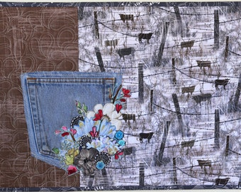 MarveLes JEAN POCKET Table Topper Placemat Western Recycled Denim Cow Cattle Rustic Collage