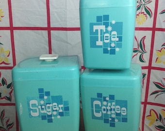 Vintage 3 piece aqua kitchen canister set. Sugar, coffee, & tea. Mid century modern. Mid mod. Cooking baking chef.