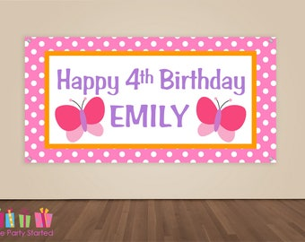 HAPPY BIRTHDAY Banner, Pink Butterfly Birthday Decorations, Butterfly Party Backdrop, Party Banner, Girls Birthday Party, Vinyl Banner