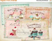 40% OFF SALE - Tags La Petit Patisserie - Vintage Digital Images - Shabby chic Tags - tags 2,5x3,5 inch - Collage Set - Digital Printable Sh